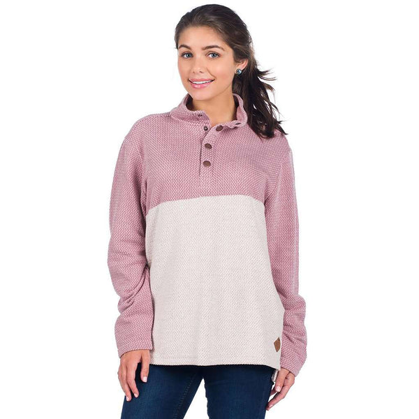 The Southern Shirt Co. Herringbone Loop Pullover in Passion Rose