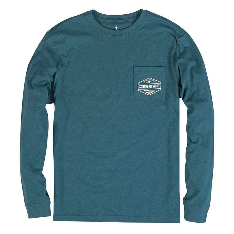 Rainbow Trout Badge Long Sleeve Tee in Legion Blue by The Southern Shirt Co. - FINAL SALE
