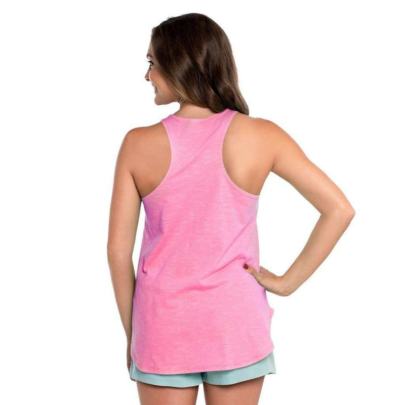 Striped Hi-Neck Tank Top in Carmine Rose by The Southern Shirt Co. - FINAL SALE