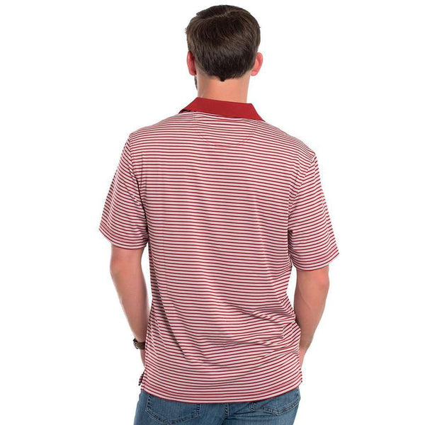 Vicksburg Stripe Performance Polo in University Red by The Southern Shirt Co. - FINAL SALE