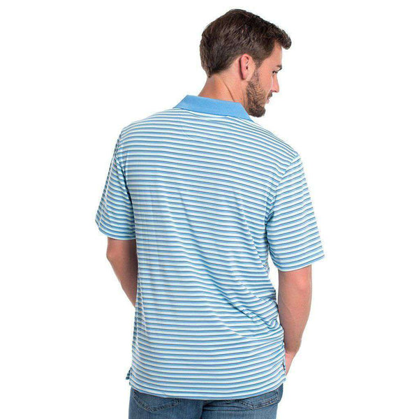 Alcove Stripe Performance Polo in Bluefin by The Southern Shirt Co. - FINAL SALE