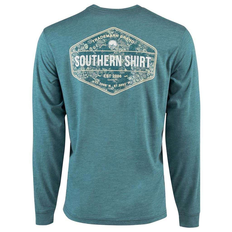 Shadow Badge Long Sleeve Tee in Colonial Blue by The Southern Shirt Co. - FINAL SALE