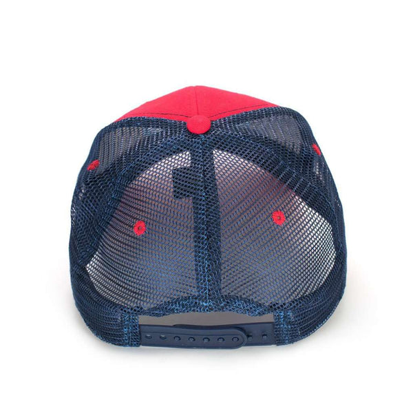 Trademark Badge Mesh Hat in Red & Navy by The Southern Shirt Co..