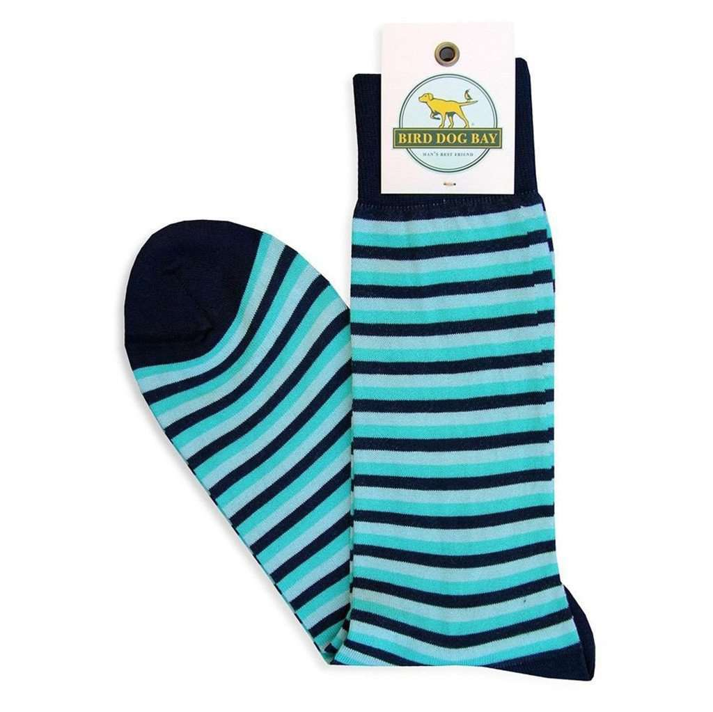 Triple Stripe Sporting Socks in Navy and Turquoise by Bird Dog Bay