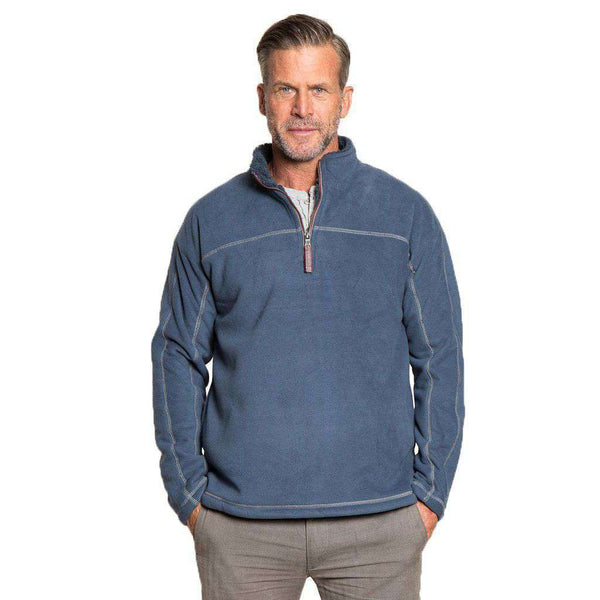 True Grit Bonded Polar Fleece & Sherpa Lined 1/4 Zip Pullover in Vintage Denim