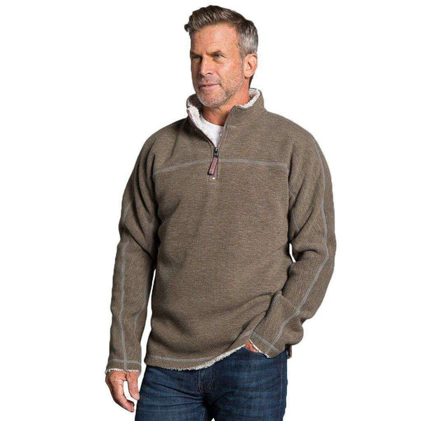 True Grit Bonded Vintage Cord 1/4 Zip Pullover in Brown