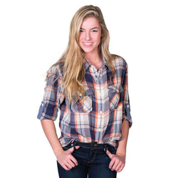 Hudson Harley Flannel Long Sleeve Two Pocket Shirt in Natural/Blue by True Grit