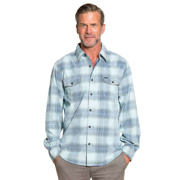 True Grit Trestle Vintage Plaid Cord Long Sleeve 2 Pocket Shirt in Aqua