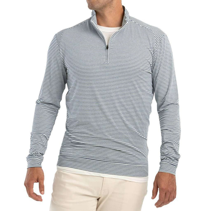 Turn Light Weight Striped Prep-Formance 1/4 Zip Pullover in Lake by Johnnie-O