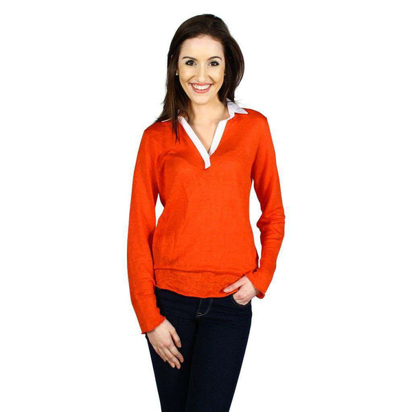 Split Collar Topper in Hot Coral by Tyler Boe - FINAL SALE