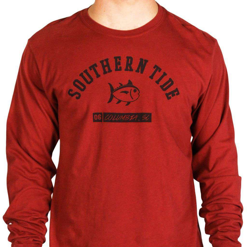 USC Long Sleeve Campus Tee in Garnet by Southern Tide  - 1