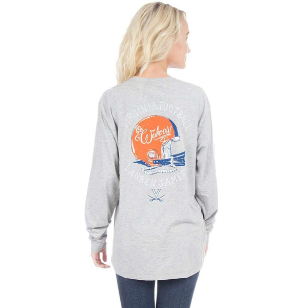 University of Virginia Helmet Long Sleeve Tee in Heather Grey by Lauren James  - 1