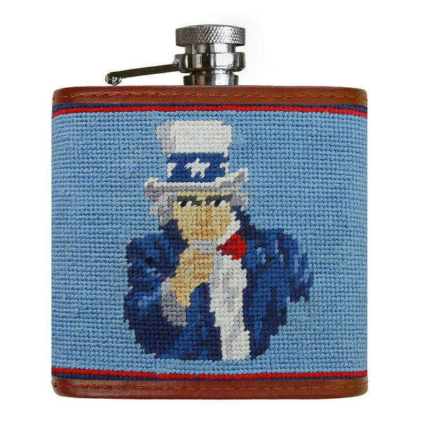 Uncle Sam Needlepoint Flask in Light Blue by Smathers & Branson