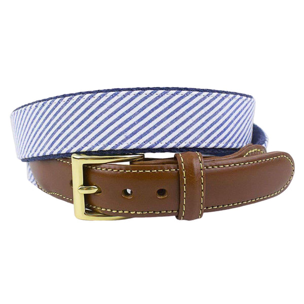 Navy Seersucker Leather Belt on Navy Canvas by Country Club Prep