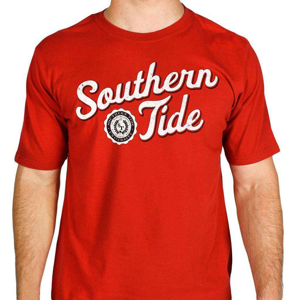 Varsity Tee in Crimson & White by Southern Tide  - 1