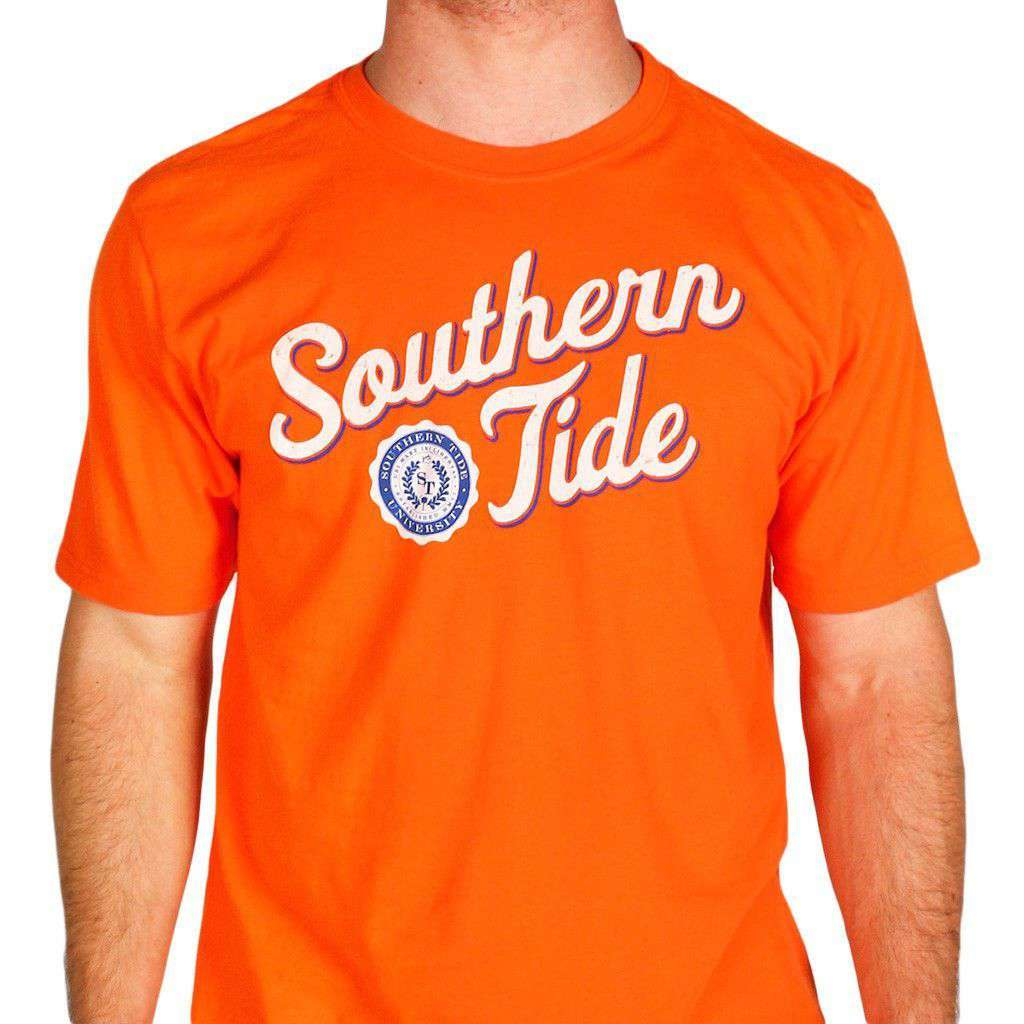 Varsity Tee in Endzone Orange & White by Southern Tide  - 1