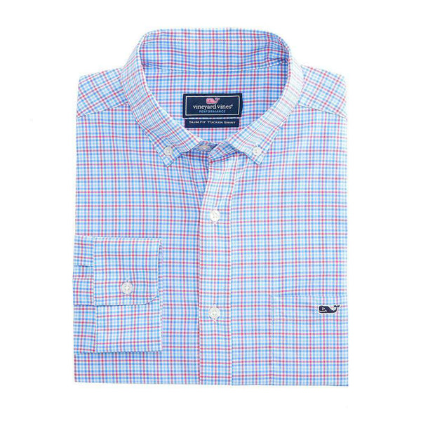 Vineyard Vines Boldwater Plaid Performance Tucker Shirt in Sailors Red