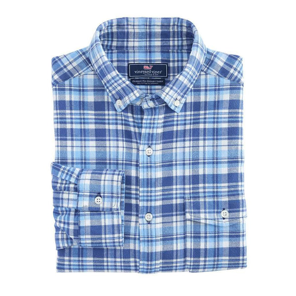 Vineyard Vines Mill Hill Flannel Classic Crosby Shirt in Moonshine