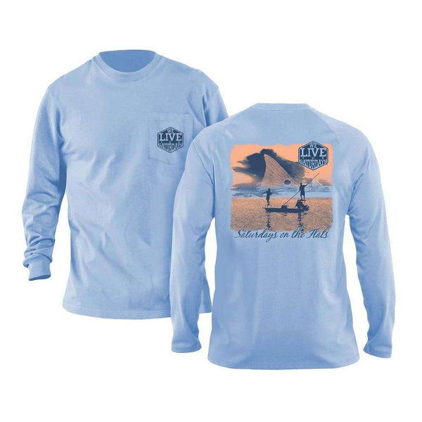 We Live For Saturdays Flats Boat Long Sleeve Tee in Ice Blue