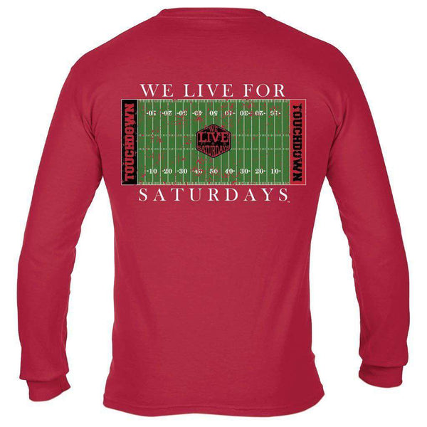 We Live For Saturdays Athens College Town Touchdown Long Sleeve Tee in Red