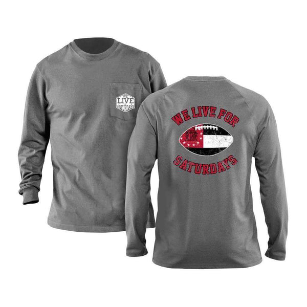 We Live For Saturdays Athens Football Long Sleeve Tee in Granite