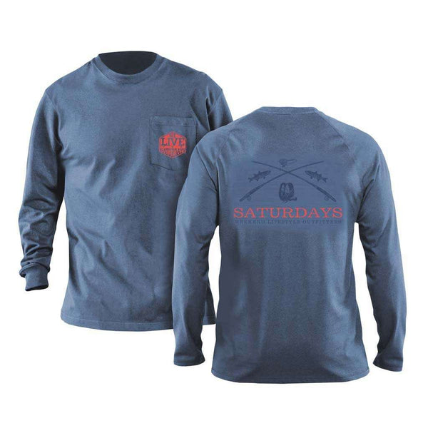 We Live For Saturdays On The Fly Long Sleeve Tee in Navy