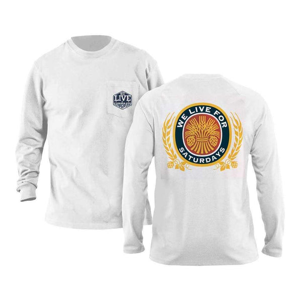 We Live For Saturdays Wheat & Oats Long Sleeve Tee in White