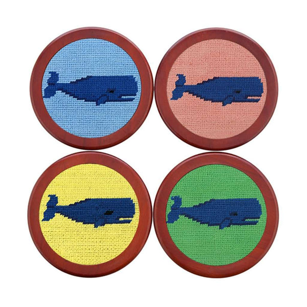 Whale Needlepoint Coasters in Pastel Multi by Smathers & Branson