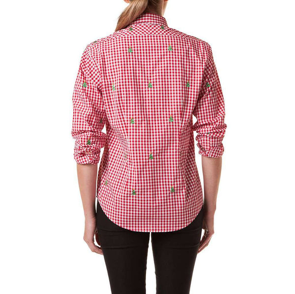 Castaway Clothing Ladies Gingham Button Down Shirt with Embroidered Christmas Trees by Castaway Clothing
