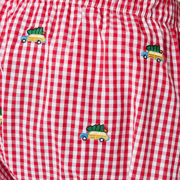Wide Gingham Barefoot Boxer in Red with Woody & Christmas Tree by Castaway Clothing