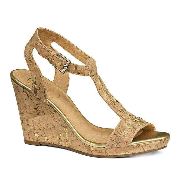Willa Wedge Sandal in Cork and Gold by Jack Rogers