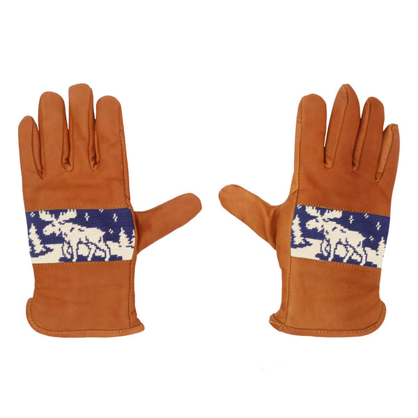 Winter Moose Needlepoint Gloves by Smathers & Branson