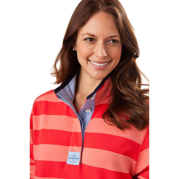 Women's Striped Skiptide Pullover in Fire Red by Southern Tide - FINAL SALE