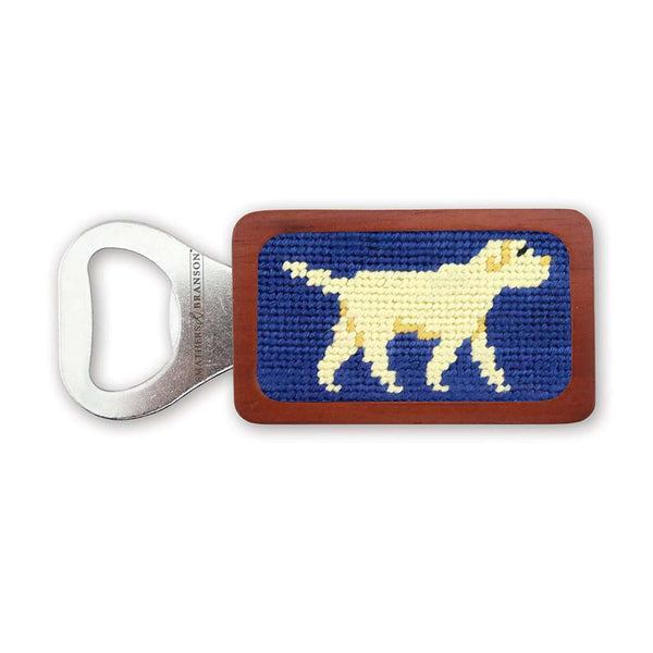 Yellow Lab Needlepoint Bottle Opener in Classic Navy by Smathers & Branson