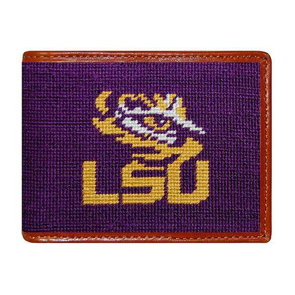 Smathers and Branson LSU Needlepoint Wallet in Purple by Smathers & Branson