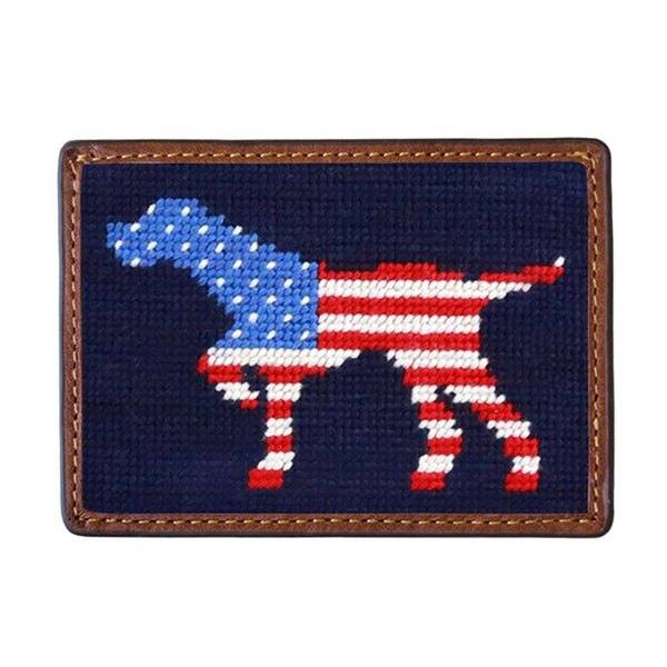 Patriotic Dog on Point Needlepoint Credit Card Wallet by Smathers & Branson
