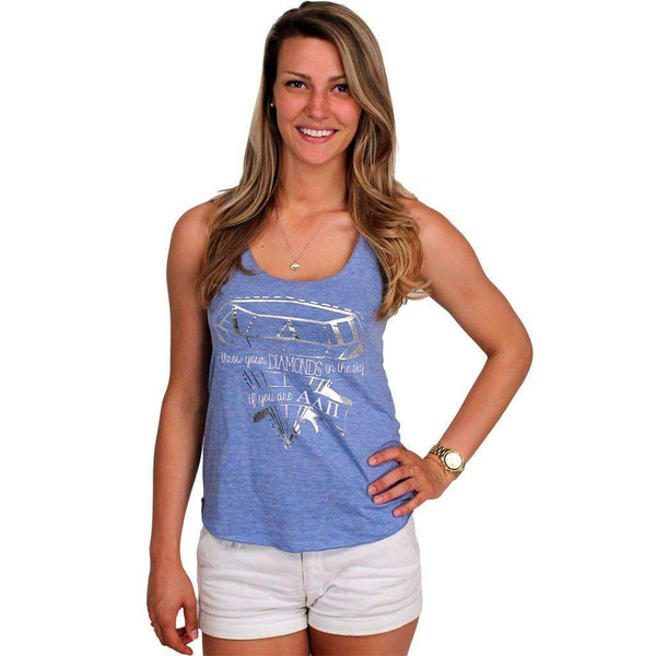 Throw Your Diamonds Tank Top in Light Blue by Judith March