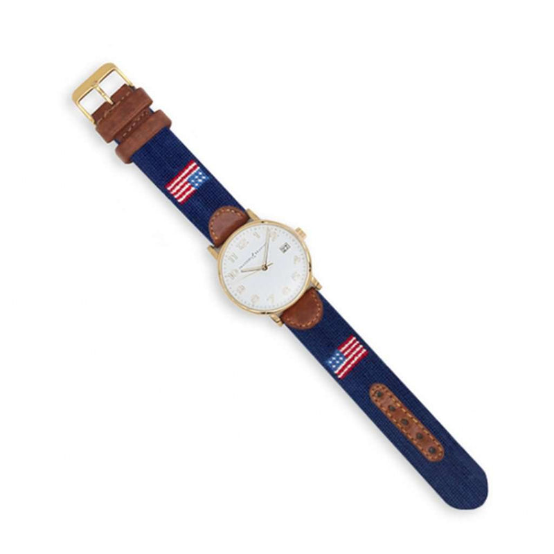 Smathers and Branson American Flag Needlepoint Watch by Smathers & Branson