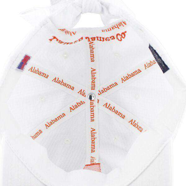 Alabama Seersucker Bow Hat in White with Orange by Lauren James - FINAL SALE