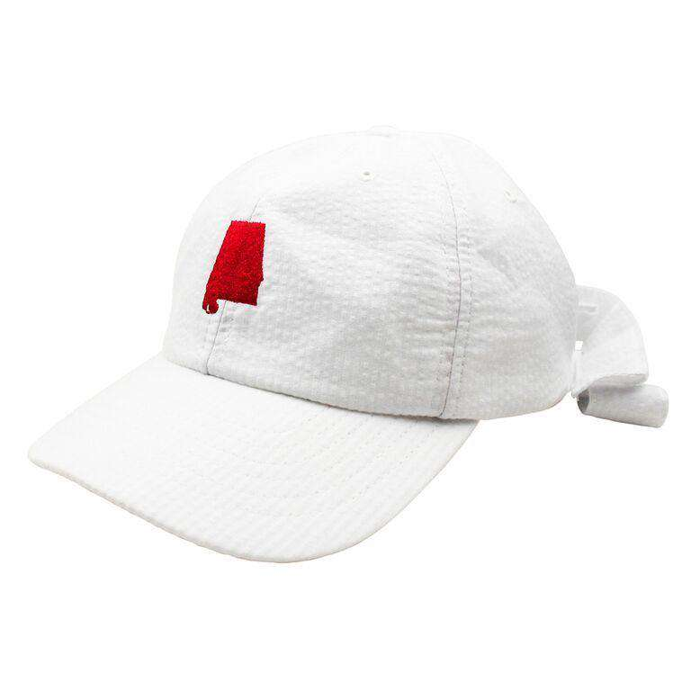 Alabama Seersucker Bow Hat in White with Red by Lauren James  - 1