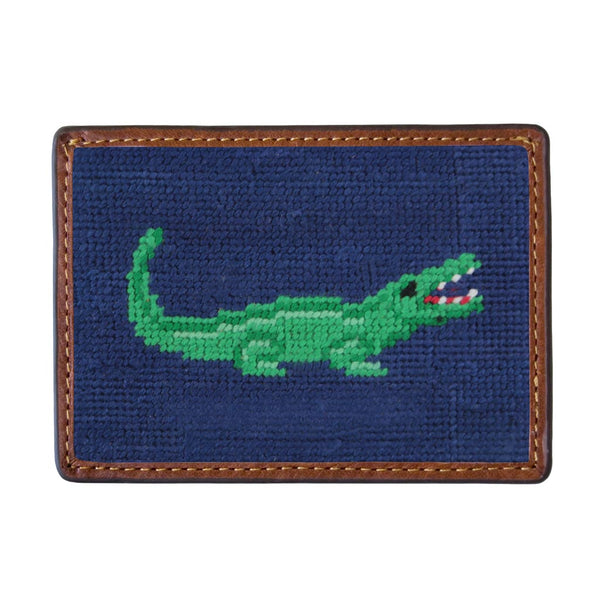 Alligator Needlepoint Credit Card Wallet by Smathers & Branson