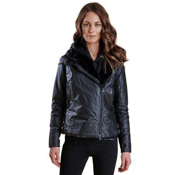 Land Rover Ratio Aysmmetric Wax Jacket in Black by Barbour  - 1