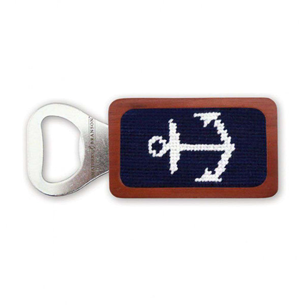 Anchor Needlepoint Bottle Opener in Dark Navy by Smathers & Branson