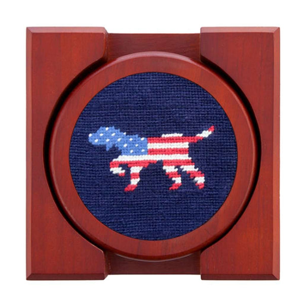 Country Club Prep Patriotic Dog on Point Needlepoint Coaster Set by Smathers & Branson