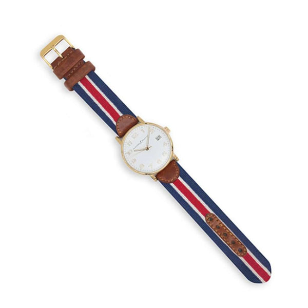 Smathers and Branson Red Multi Stripe Needlepoint Watch by Smathers & Branson
