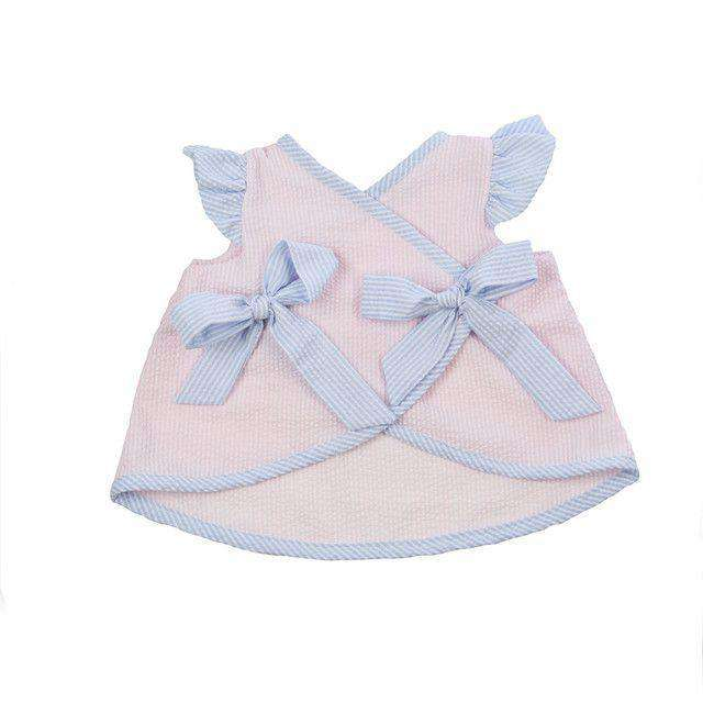 Baby,Kids - Alice Angel Sleeve Bloomer Set In Pink Seersucker With Breaker Blue Seersucker Trim By The Beaufort Bonnet Company