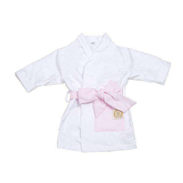 Blaylock Bathrobe in White with Pink Savannah Seersucker Detail by The Beaufort Bonnet Company