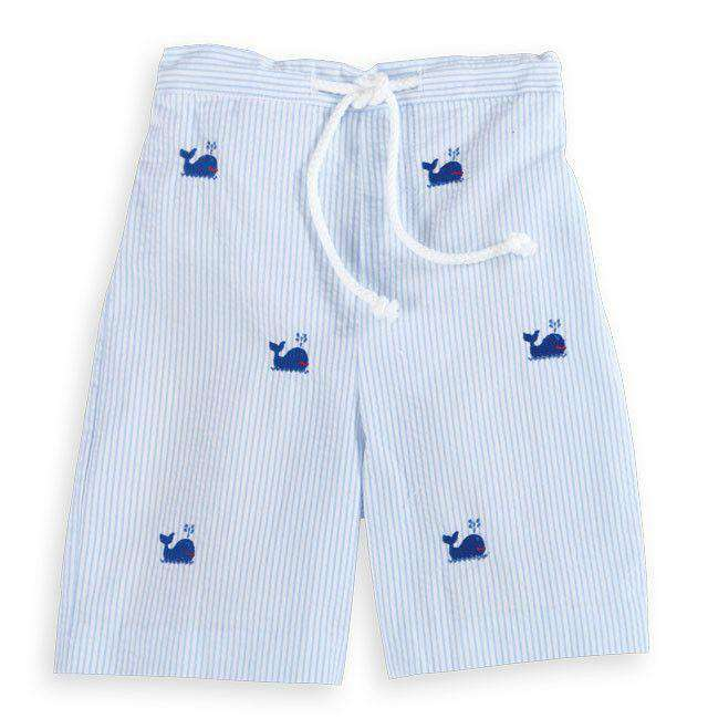 Blue Whale Embroidered Boy Swim Trunk in Blue and White Seersucker by Bella Bliss