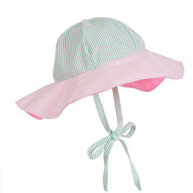 Cissy Sun Hat in Kiawah Kelly Green Seersucker and Plantation Pink by The Beaufort Bonnet Company