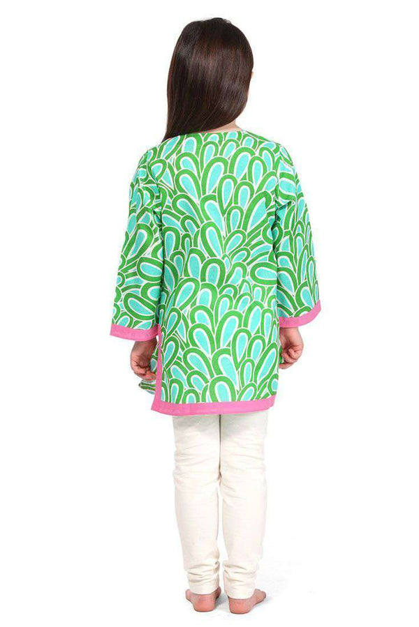 Girl's Annabelle Cotton Tunic in Aqua by Malabar Bay - FINAL SALE